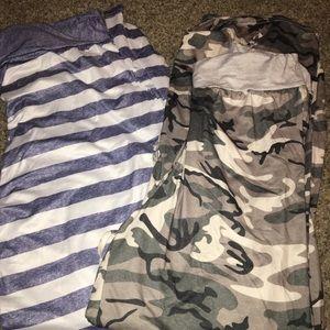 Other - 2 super plush pj pants striped/camo